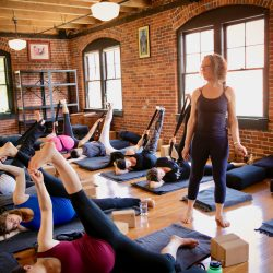 Carol Gray Observes Her Pregnant Students in Class at MamaSpace Yoga
