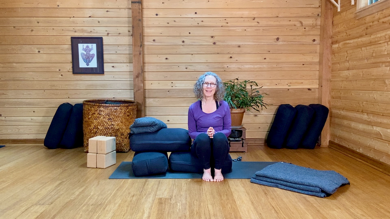 Supported Reclined Hero Prop Set-Up With Carol Gray at MamaSpace Yoga