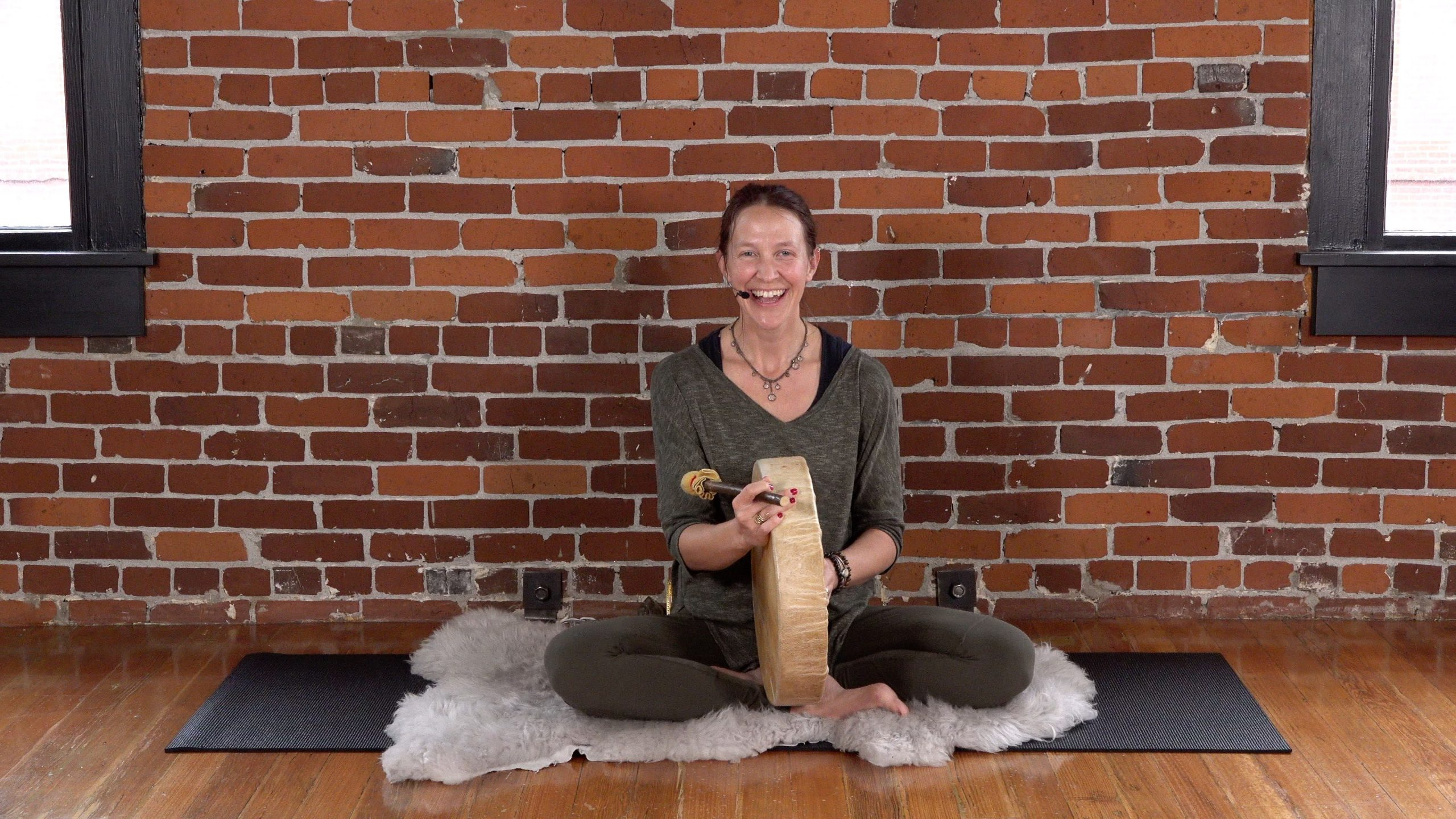 Emily Dalsfoist Leading an Earth Meditation at MamaSpace Yoga
