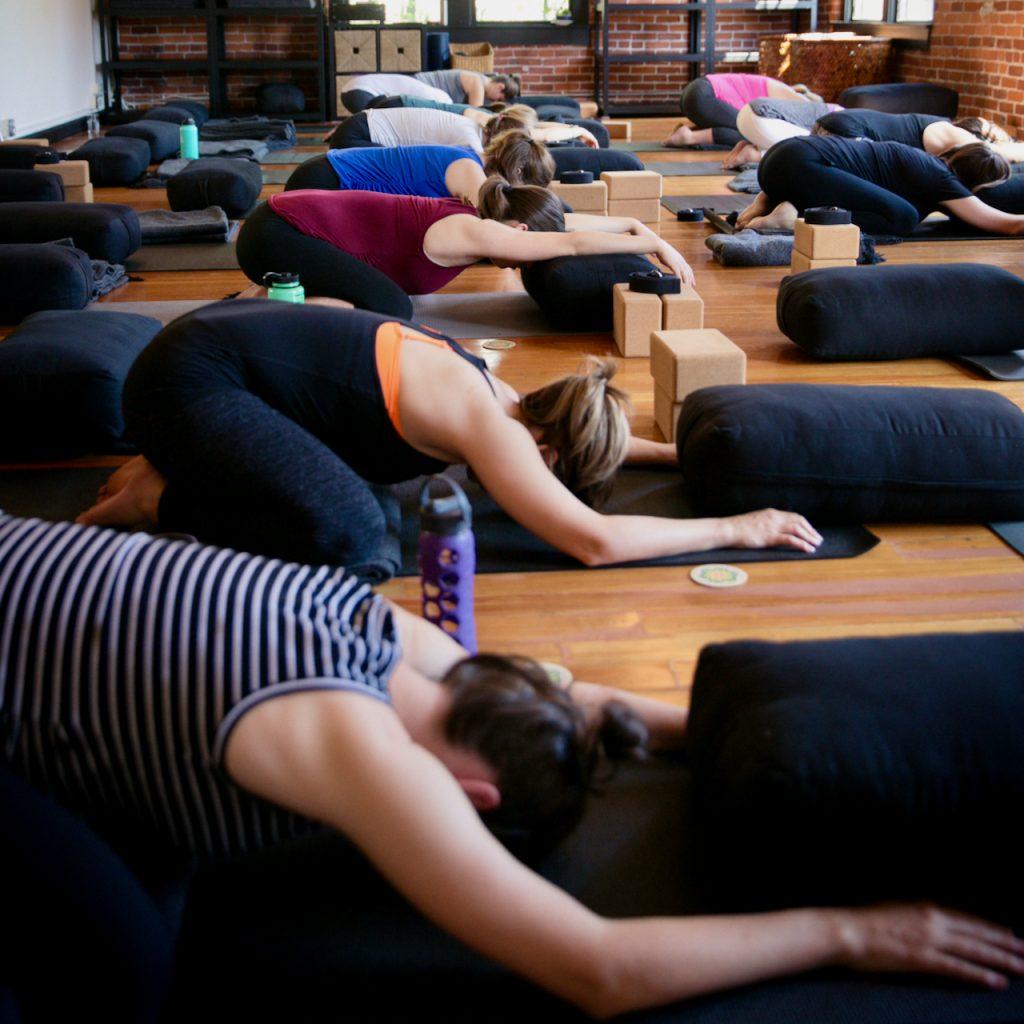 Child's Pose at MamaSpace Yoga