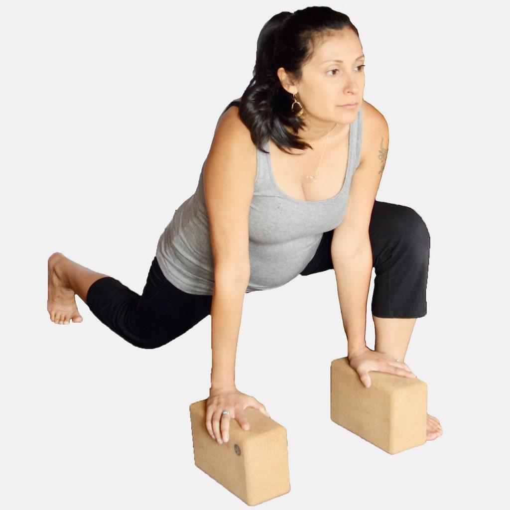more hip flexor opening using blocks at MamaSpace Yoga